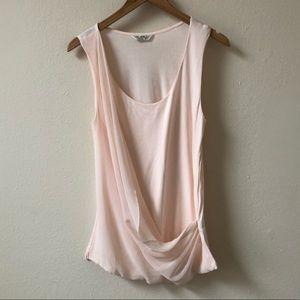 MISS SELFRIDGE gauzy light pink wrap blouse top